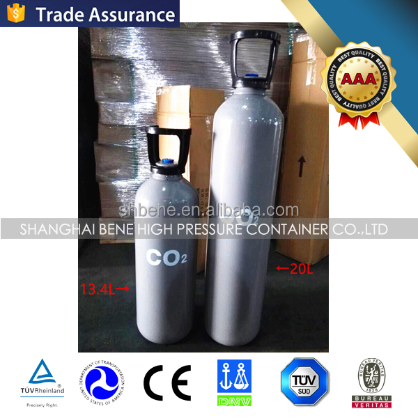 TPED approval EU standard EN1964 WP200bar DIA200mm 13.4L co2 cylinder with ABS handle