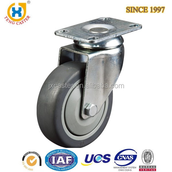 Teng Caster 6 inch Medical and institutional Series TPR Wheel Swivel Casters with Zinc-Plated