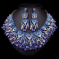 Royal Wedding Bridal Costume African Jewelry set Big Crystal Rhinestone Statement Necklace Stud Earring Sets Dressed Women Gift