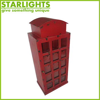 Home Furniture Wine Rack Vintage Clic Red London Telephone Booth Wood Cabinet
