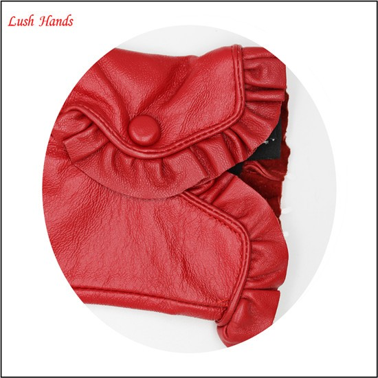 2017 new fashion ladies red driving leather hand gloves with good price