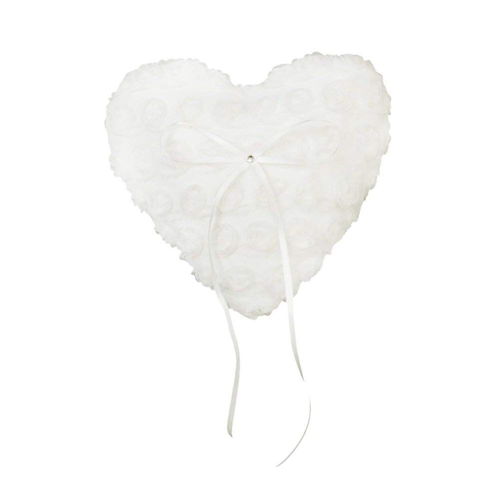 Tinksky 1517cm Flower Decorated Wedding Ceremony Heart Pocket Ring Bearer Pillow