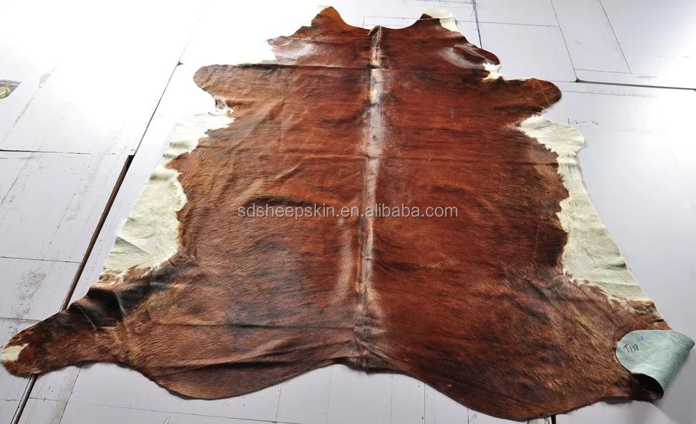 White And Brown Wholesale Cow Skin Rug Natural Cowhide Rug