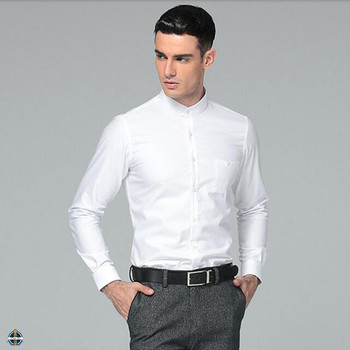 T-mss558 Men's 100% Cotton Oxford Collarless Pain White Dress ...