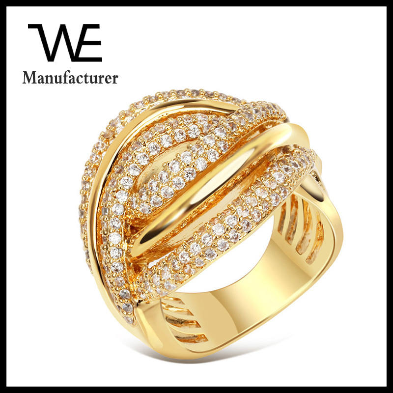 Two Tone Reciprocal Crossover Abstraction Eyes Inlay Diamond Women Extravagant Ring