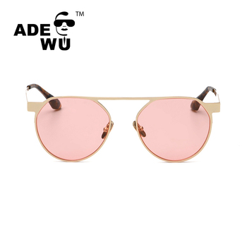 2016 New Round Men Women Fashion Mirror Sunglasses Pink Sunshades