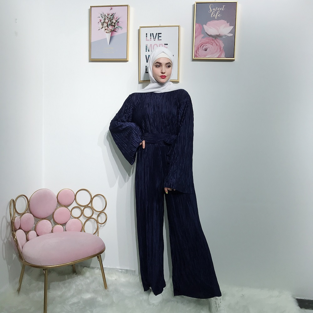 Wholesale high quality fancy pleated islamic clothing women abayas jumpsuits for muslim