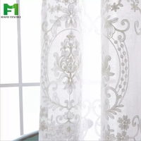 polyester embroidered sheer voile curtain and jacquard voile sheer for window
