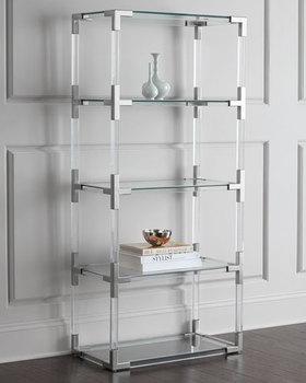 Modern Acrylic Corner Bookshelf Storage Shelf Glass Stainless Steel Parts Metal Cabinet