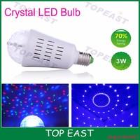 LED Crystal Bulb Rotating LED Strobe Bulb Changing Crystal Stage Lamp Light - Multi Color