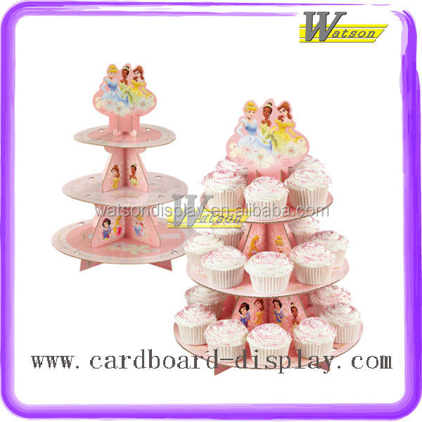 hot sale supermarket and promotion 3 tiers cardboard silicone cupcake stand for kids birthday party