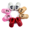 New Matte Bling 28 Color Tassel Leather Baby Shoes Moccasins Baby Toddler Shoes Unisex Newborn Baby