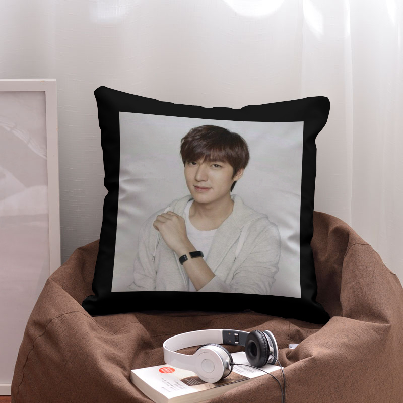 Korean Male Stars Lee Min-ho Square Printed Plain Cotton Polyester Blend Back Seat Pillow Case Cushion Cover