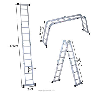 NEW EN131 aluminium multi purpose 14 steps narrow folding ladder