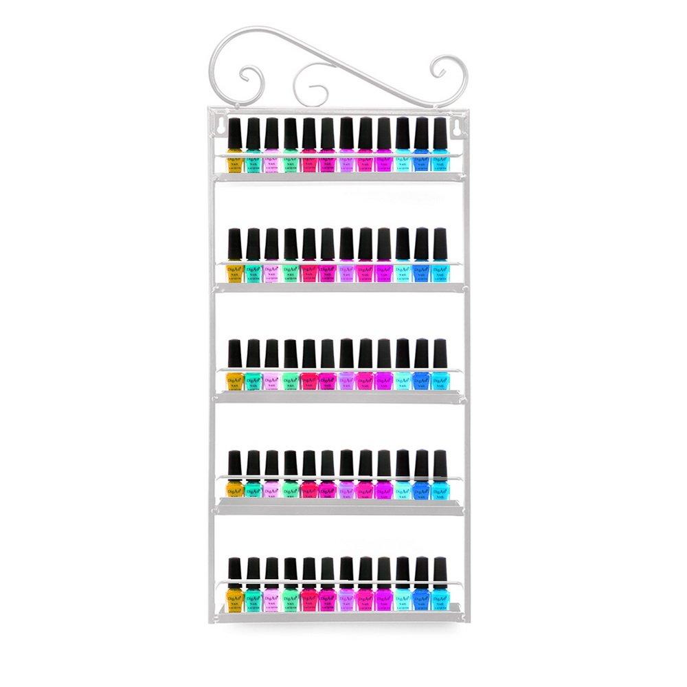 Dazone® Wall Mount 5 Tiers Nail Polish Rack Organizer Hold 60 Bottles Nail Polish Shelf (White)