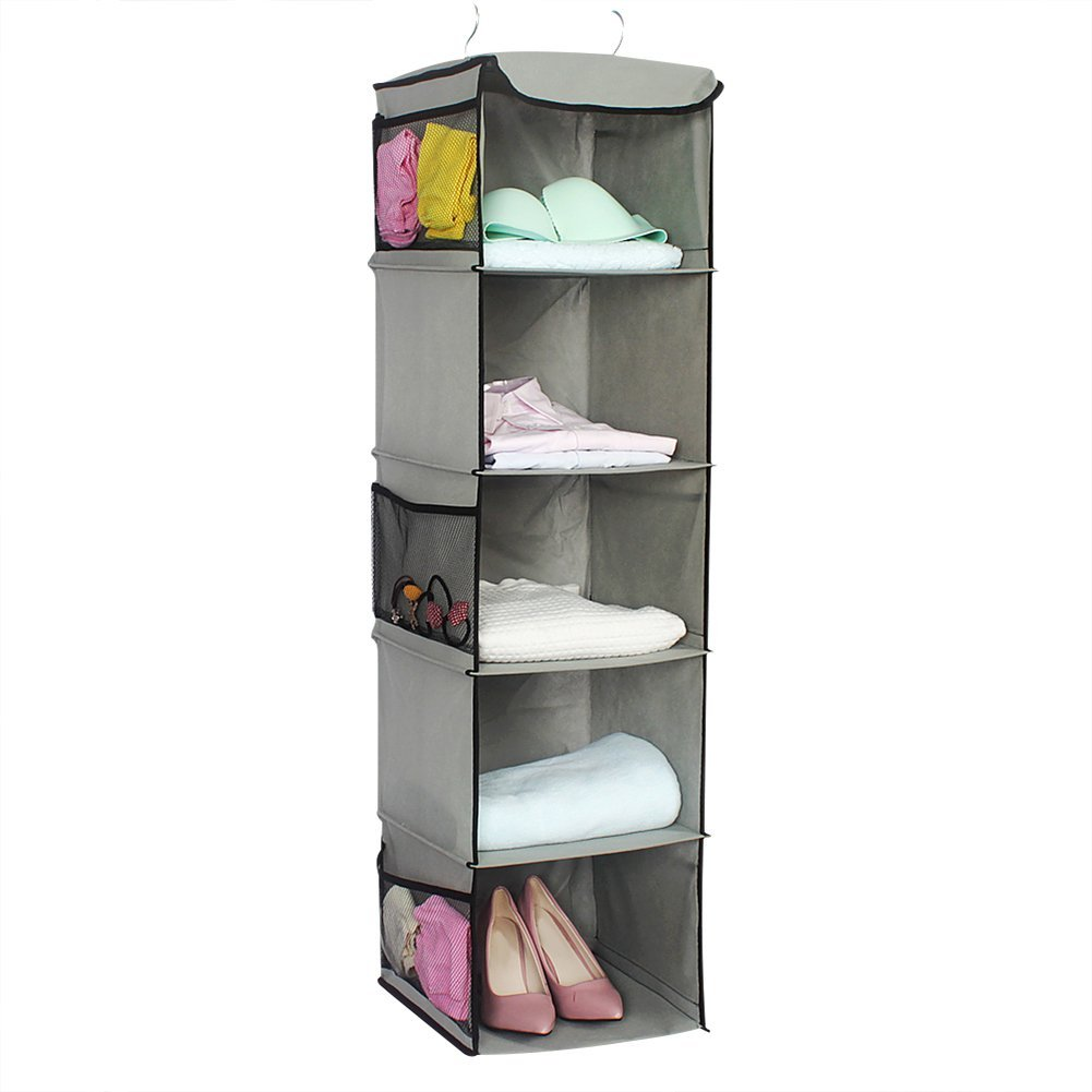 Get Quotations · Sundlight Hanging Storage Closet, Five Layer Hanging Shelf  Organizer With Iron Hanging Rack Non