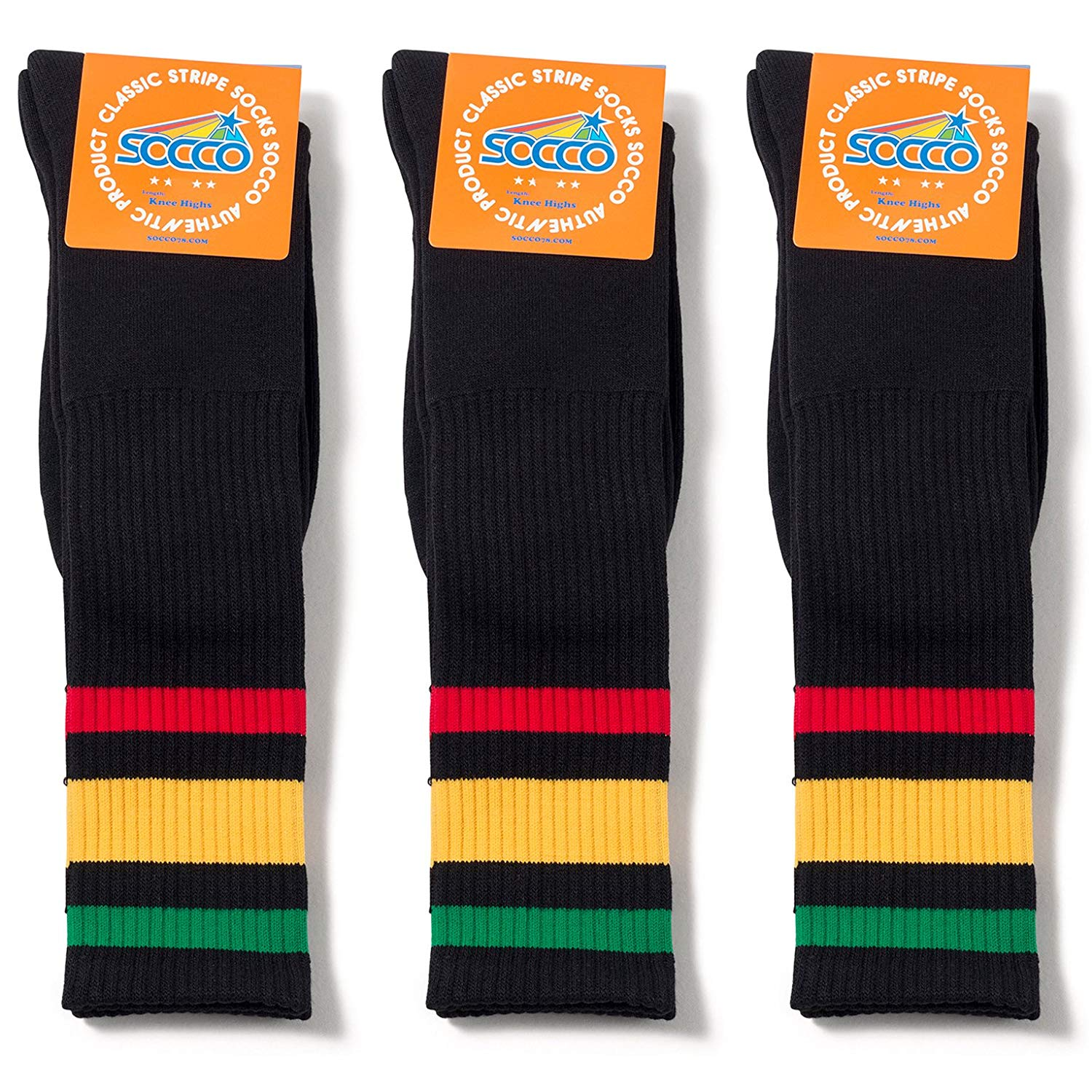 Socco Socks Unisex Black Triple Striped Rasta Green/Yellow / Red Knee High Tube Socks Bundle of 3 Pairs - Small/Medium (6-9)
