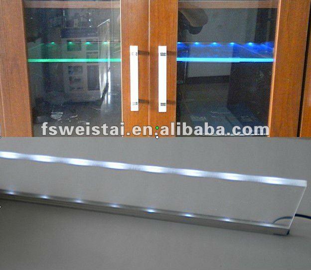 led lumière pour étagère en verre/led éclairage en verre vitrine