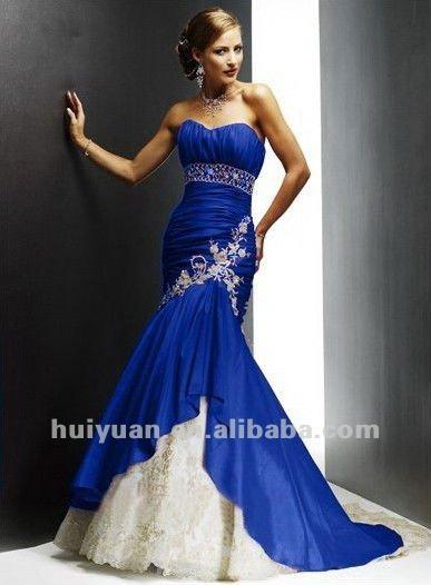 Robe de mariage bleu roi et blanc
