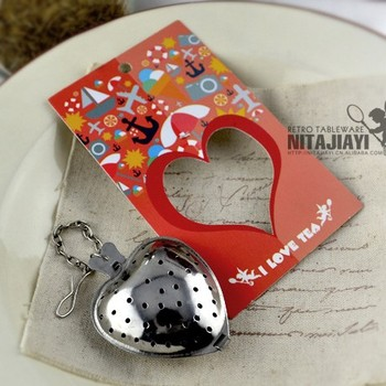 Wholesale & Retail Wedding Gift Stainless Steel Heart Shaped Tea Infuser/Strainer with chain