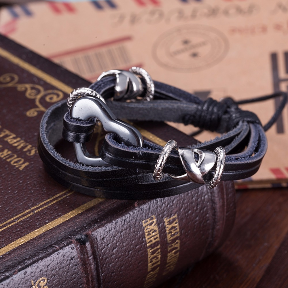 Fashion custom made changeable cuff heart leather friendship cord bracelet