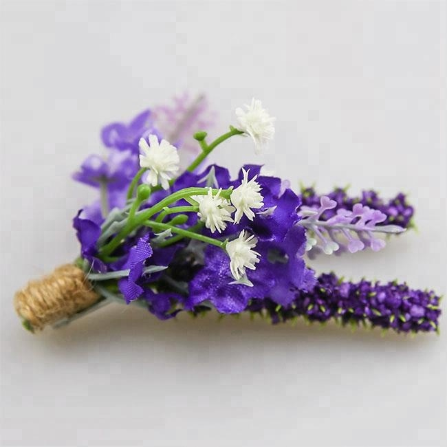 Fashion Sweet Purple Artificial Corsage Flowers Groomsman Boutonniere For Wedding Dancing Party Decor Graduation Prom Gift