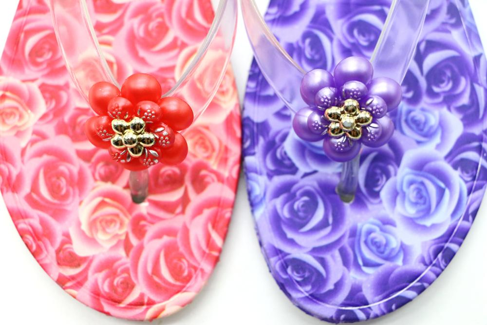 Transparent strap sport women sublimated hard rubber flip flops