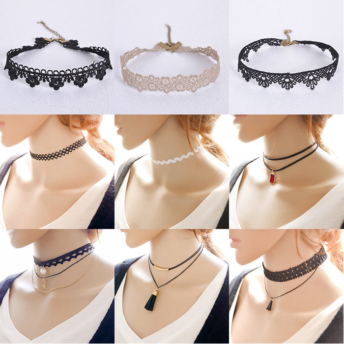 2016 tendance populaire bijoux dames noir dentelle collier ras du cou collier id de produit. Black Bedroom Furniture Sets. Home Design Ideas
