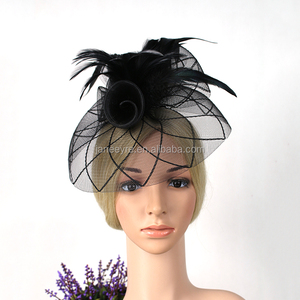 86cf3e34ee3c6 New Style Hair Accessories Feather Net WOmen Wedding Fascinator Hat