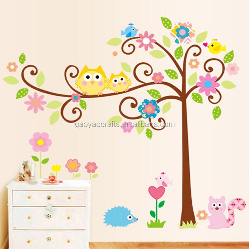 Lindo sabios búhos árbol de pared de habitación de los niños ...