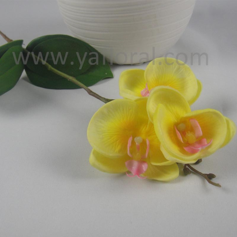 3 Flowers Yellow Real Touch Artificial Cattleya White Orchid Stems ...