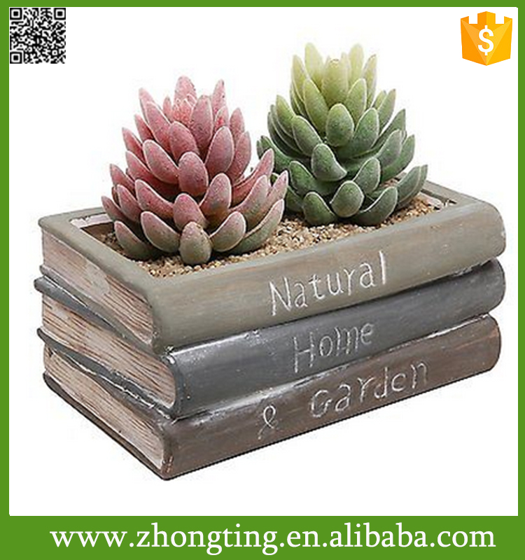 Vintage Style Ceramic Stacked Book Design Succulent thai flower pot