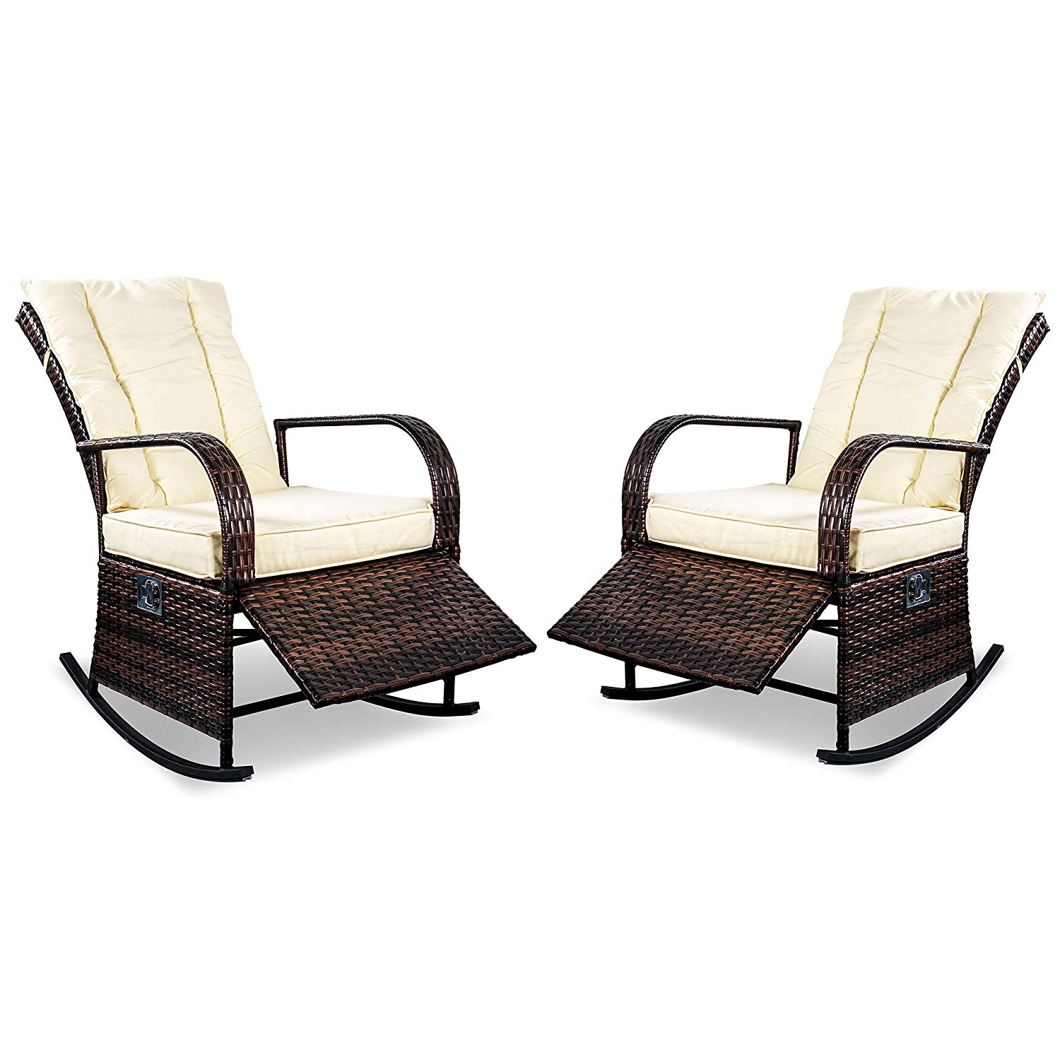 SCYL Color Your Life Set of 2 Outdoor Wicker Rocking Chair with Adjustable Backrest and Footrest,All Weather Patio Porch Deck Reclining Chair w/Cushion