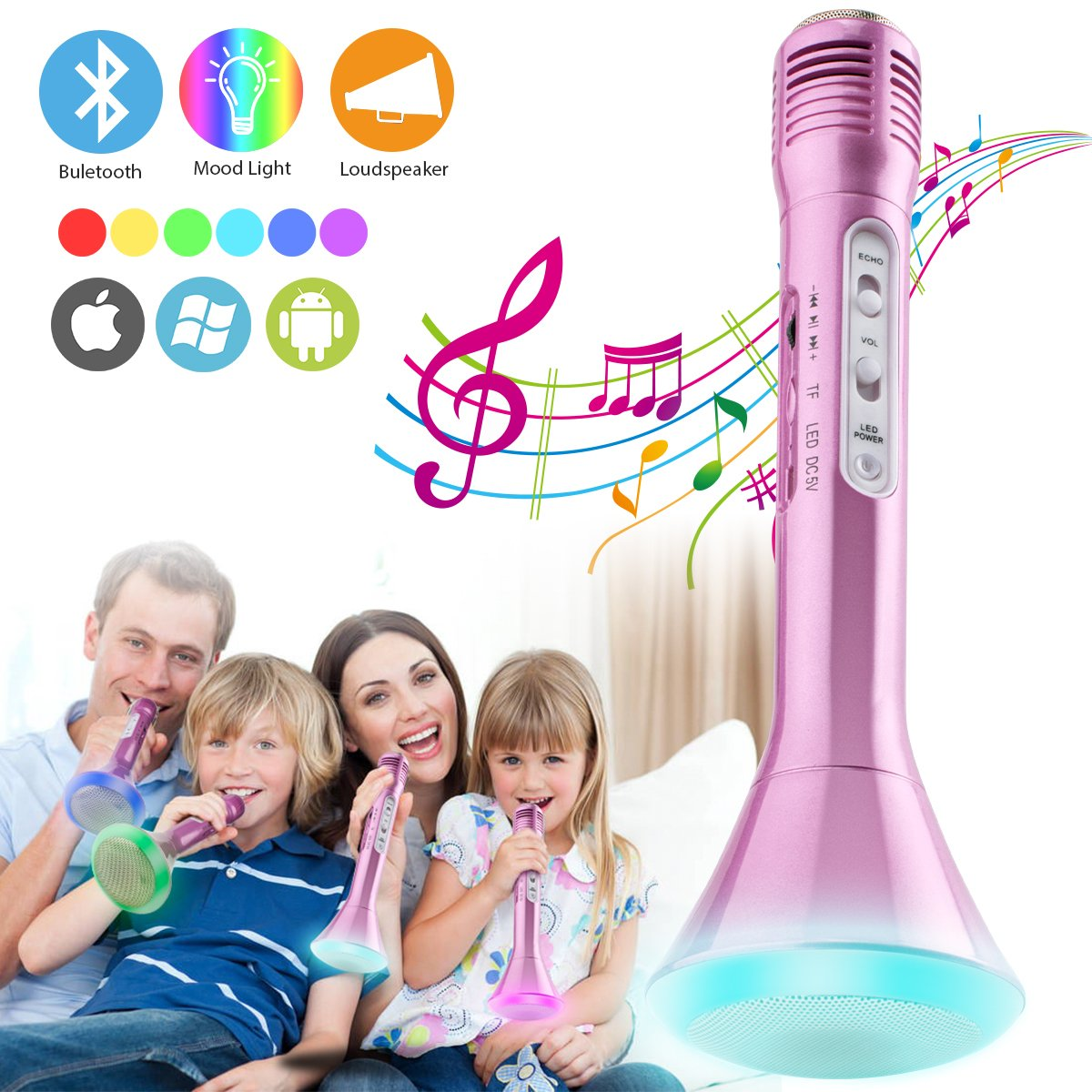 Wireless Kids Karaoke Microphone with Bluetooth Speaker, Portable Handheld Karaoke Player for Home Party KTV Music Singing Playing, Support iPhone Android IOS Smartphone PC iPad (Pink)