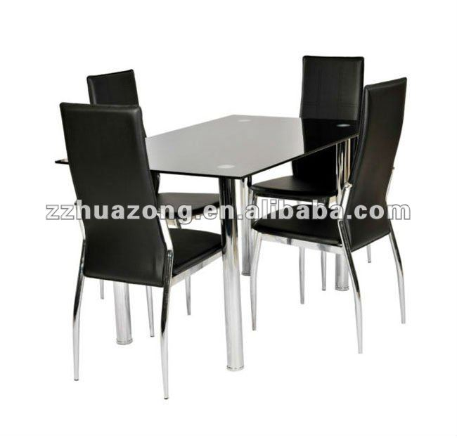 Black Glass Rectangle Chromed Dining Table with 4 Faux Leather Chairs