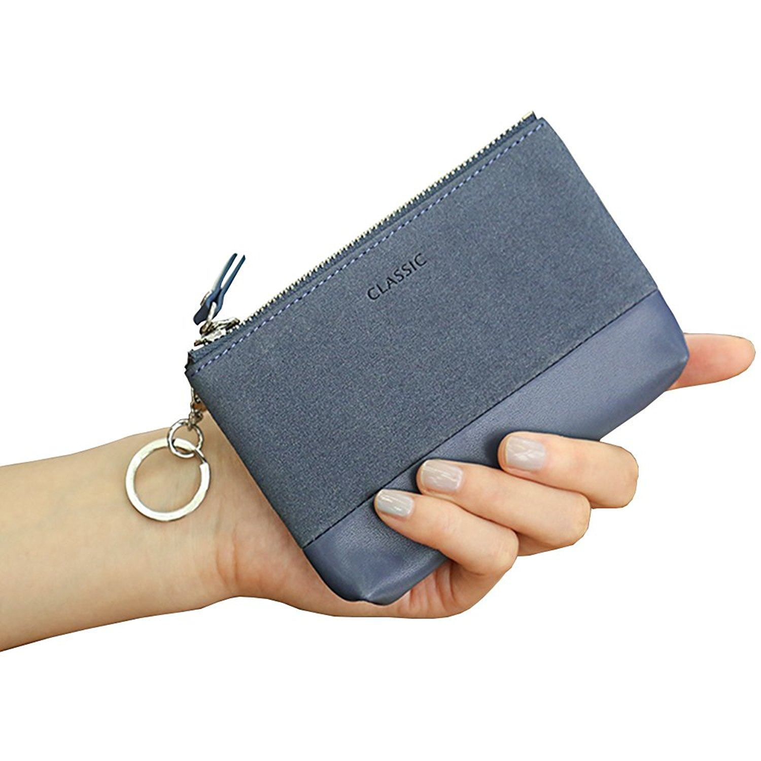IFUNLE Womens RFID Blocking Slim Key Holder Wallet Card Holder Coin Cash Key Organizer Zipper Buckle Key Case Wallet with 4 Hooks and Key Chain/Ring