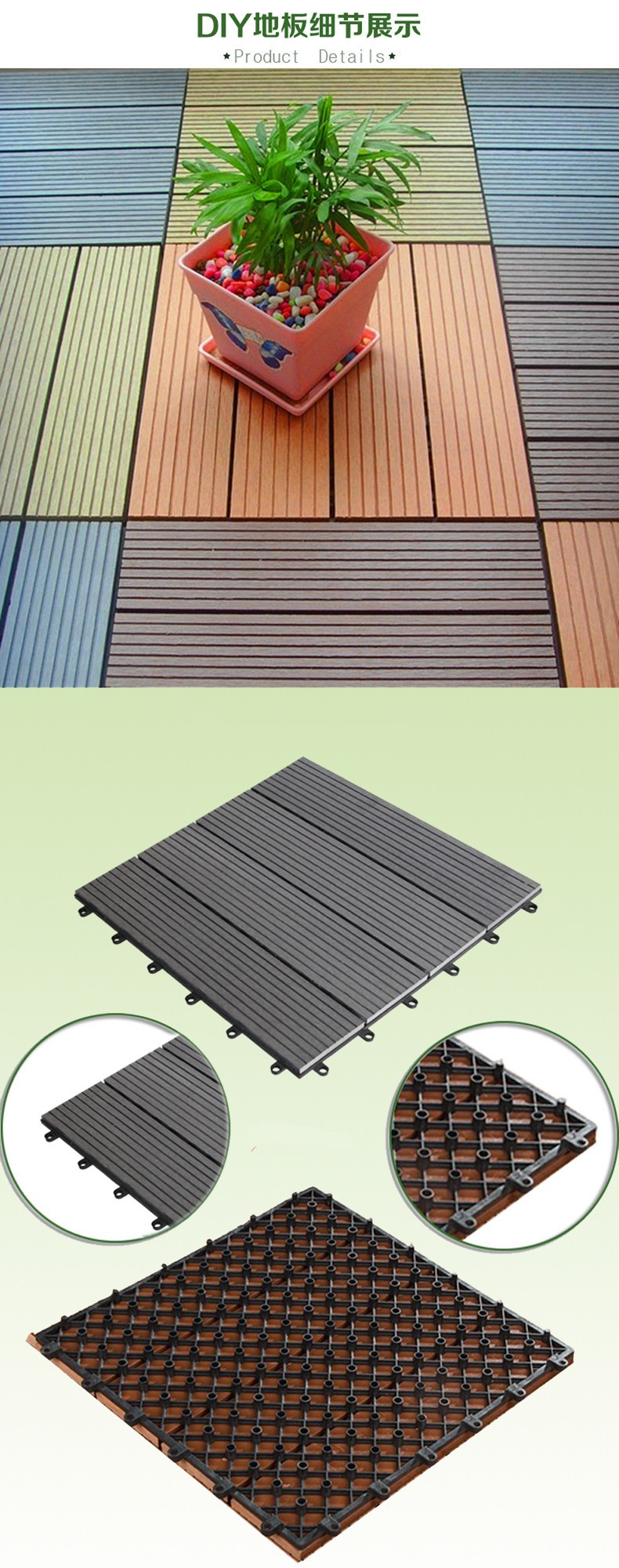 Wasserdicht günstige Wpc Decking Harte Tragen Co-extrusion Composite Deck