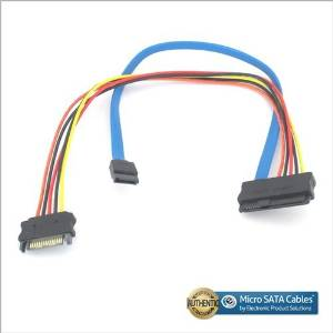 SAS 29pin Female to 15 Pin SATA Male with 7 Pin SATA 12 Inch Cable
