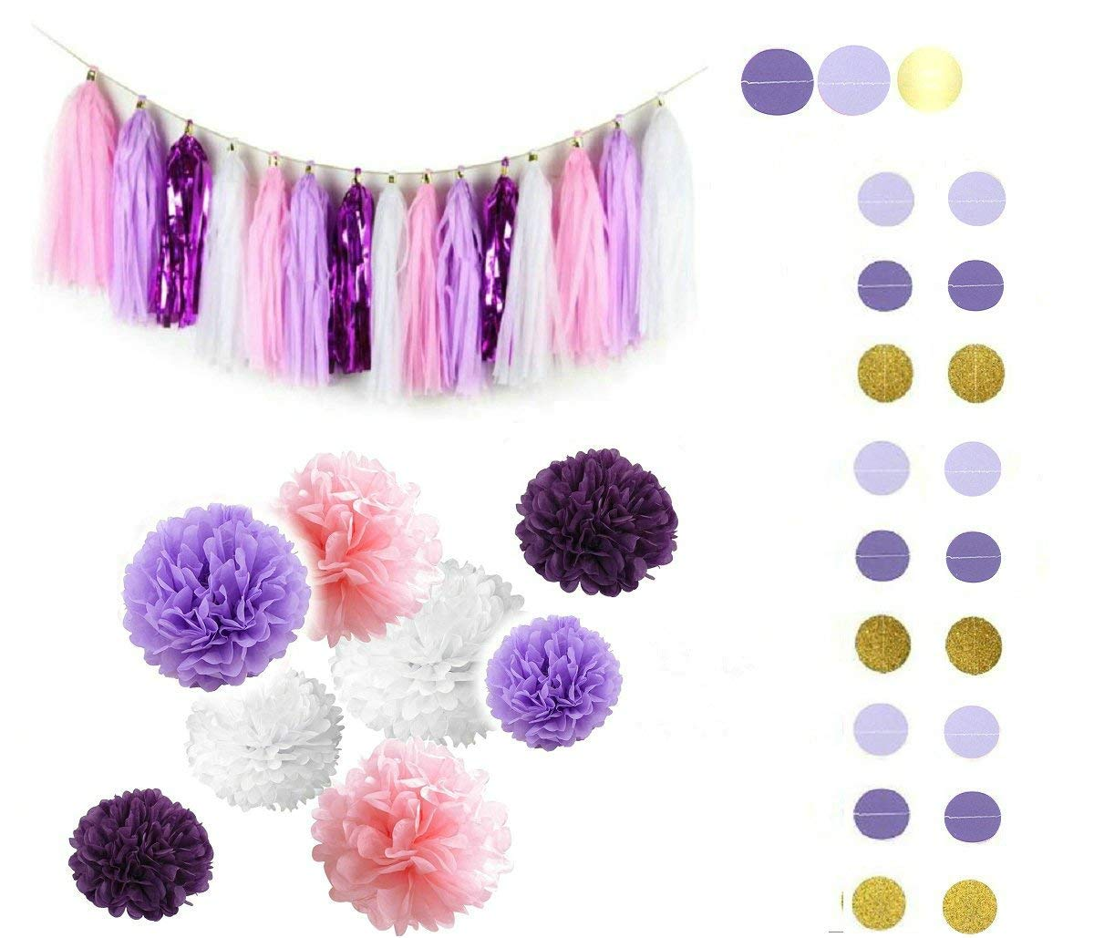 Fascola 30ps Purple Lavender Baby Pink White Baby Shower Tissue Paper Pom Pom Paper Tassel Garland First Birthday Decorations Purple Bridal Shower Decorations Snow or Sea Theme Party Decor