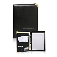 hot sale pu leather a5 size folder to hold passport, name card, memo pad with metal clip custom notebook