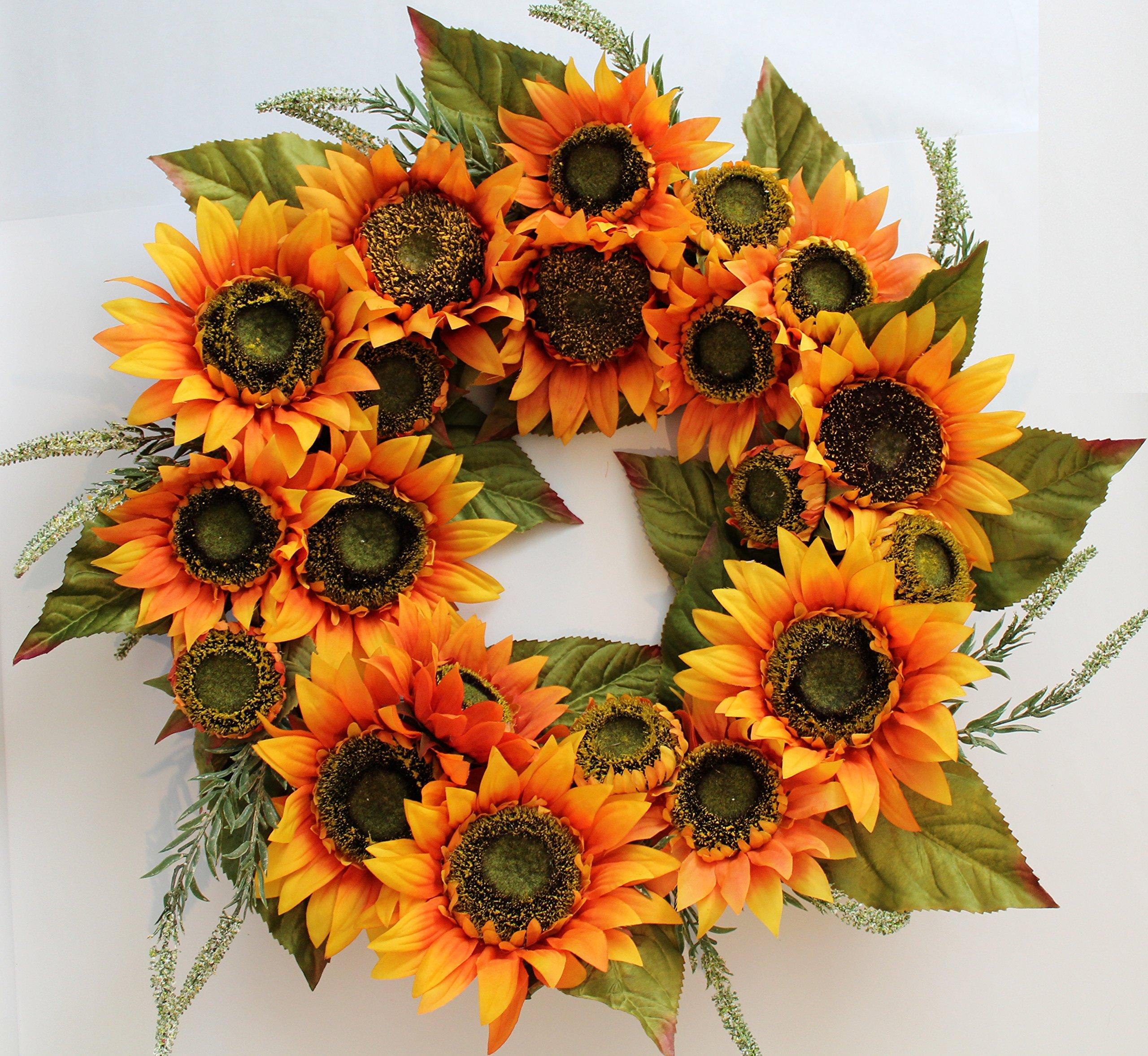 Buy melbourne silk sunflower front door wreath 22 inch handcrafted melbourne silk sunflower front door wreath 22 inch handcrafted with designer quality silk flowers mightylinksfo