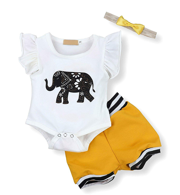 Yihanshangmao Newbron Baby Boy Girl Elephant Print Romper + Short Pants +Headband 3 Pcs Outfits Set