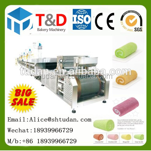 T&D Bakery Food Machine--Automatic Chocolate Swiss Roll Cake Machine swiss roll production line Factory Price