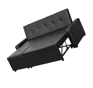 Practical sleeping black leather corner sofa bed