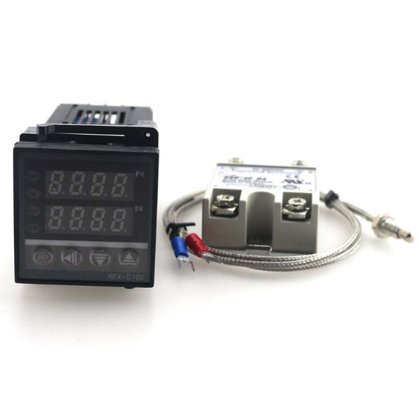Dual PID Thermostat 0-400C SSR Regulator PID Digital Output REX-C100 Temperature Controller with K 40A SSR Thermocouple