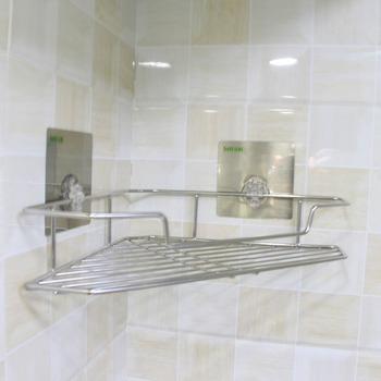 Stainless Steel Bath Shelf,Reusable Bathroom Corner Rack,Suction No ...