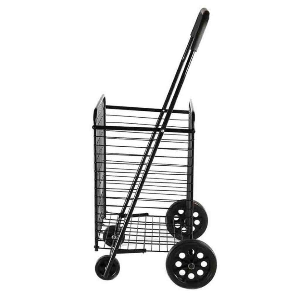 DTTX002 Shopping Trolley, Supermarket Shopping Cart, Home Climbing Climbing Stairs Folding Elderly Multi-Function Large Capacity Luggage Cart, Portable,Black,A