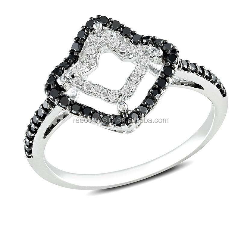 stylish women sterling Silver Rhodium plated Clear black CZ diamonds Ring
