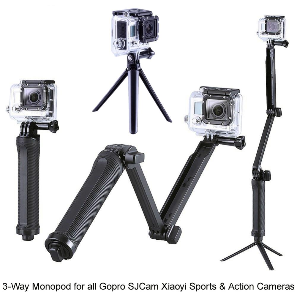 GoPro Аксессуары Складной 3 Способ Монопод Крепление Камеры Сцепление Плечо Расширения штатив Стенд для Gopro Hero 4 2 3 3 + 2 SJ4000 GP238