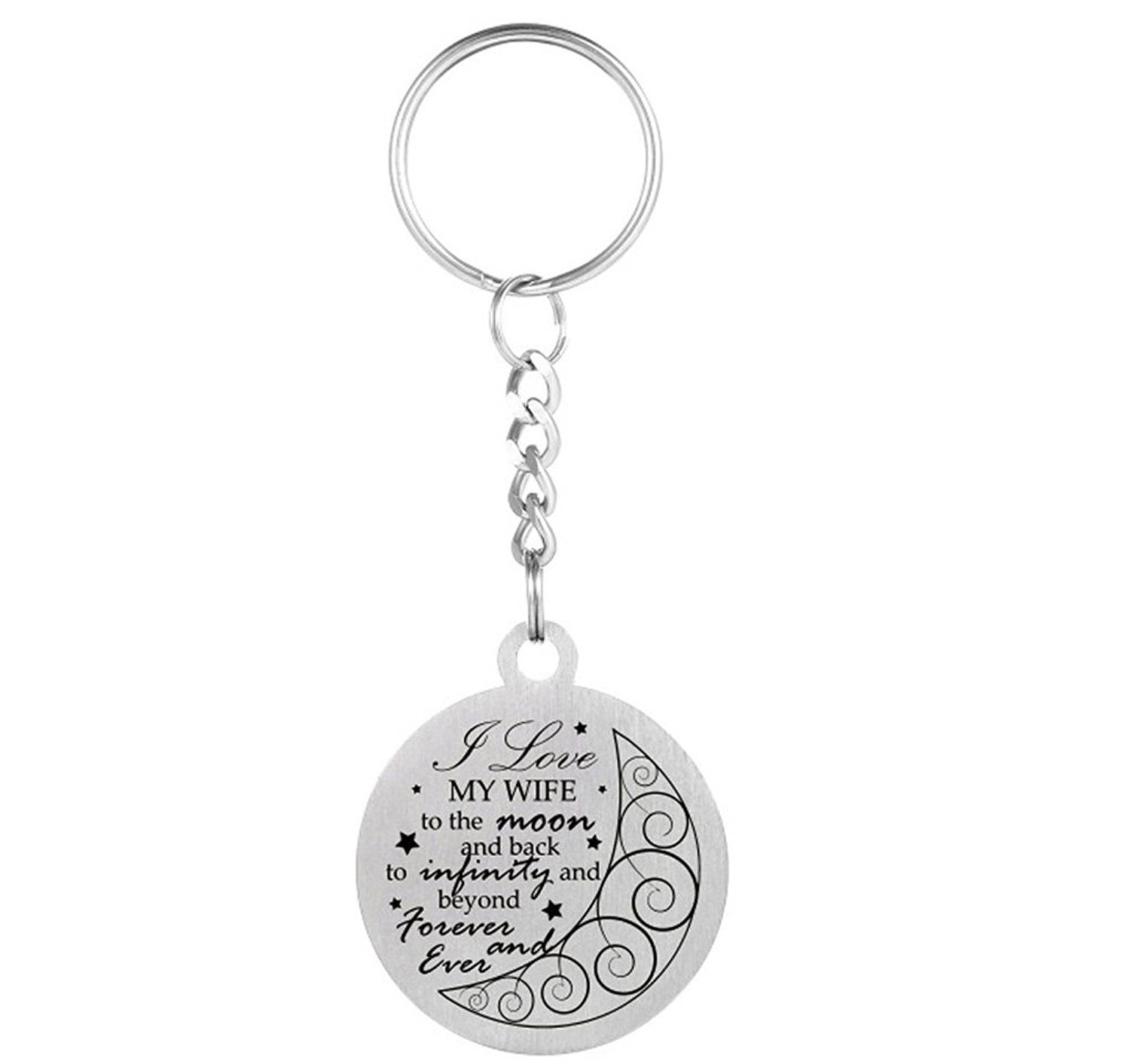 """Inspirational Love Gift To My wife """"I love my wife to the moon and back""""Dog Tag Necklace Keychain Small Valentine Gift"""